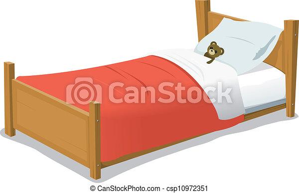 Cartoon Bed With Teddy Bear - csp10972351