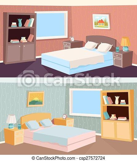 Cartoon bedroom apartment livingroom interior house room... vector ...