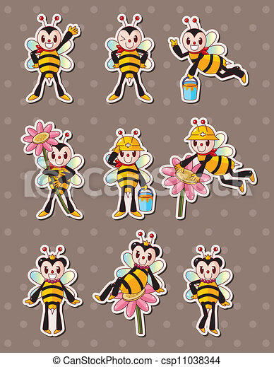 cartoon bee boy stickers - csp11038344