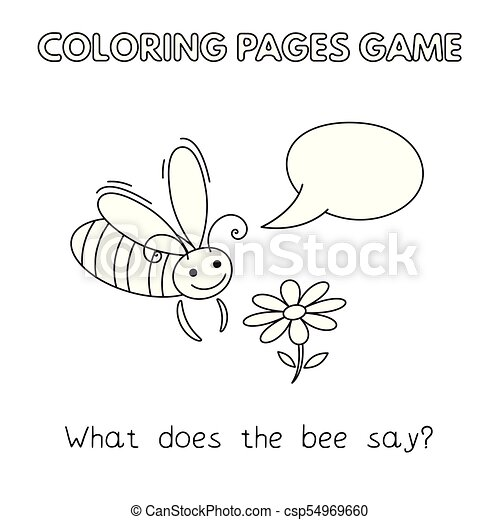 Cartoon Bee Coloring Book Funny Bee Kids Learning Game Vector Coloring Book Pages For Children Canstock