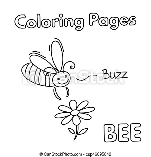 - Cartoon Bee Coloring Book. Cartoon Bee Illustration. Vector Coloring Book  Pages For Children.