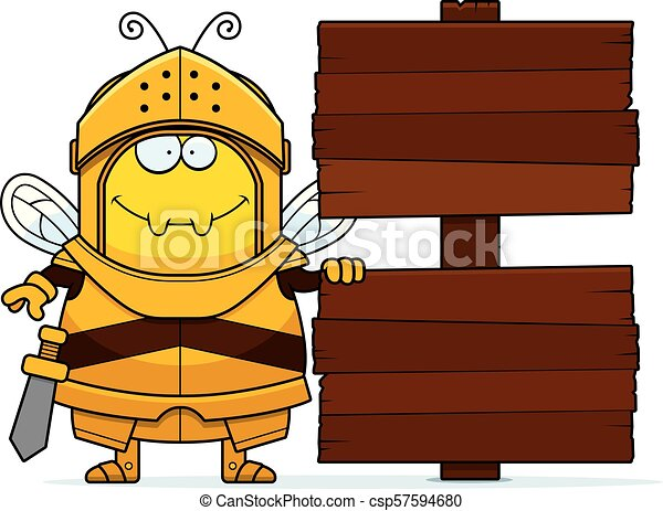 Cartoon Bee Knight Sign - csp57594680