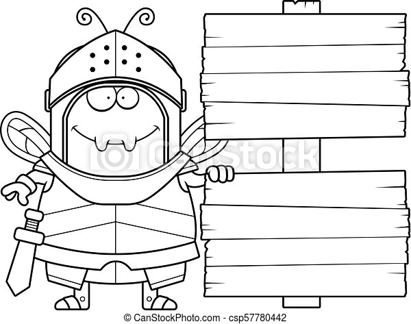 Cartoon Bee Knight Sign - csp57780442