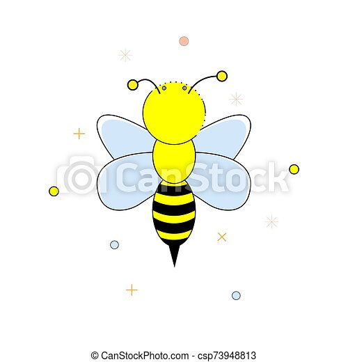 Cartoon bee on a white background. Vector illustration. - csp73948813