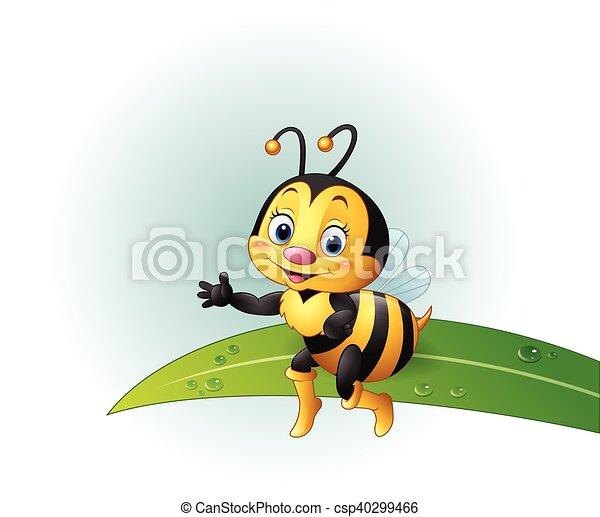 Cartoon bee sitting on a leaf - csp40299466