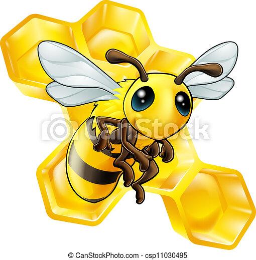 Cartoon bee with honeycomb - csp11030495