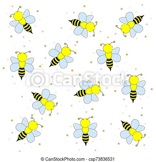 Cartoon bees flying. Vector illustration on a white background. - csp73836531