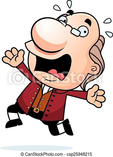 Cartoon Ben Franklin Panicking - csp25948215