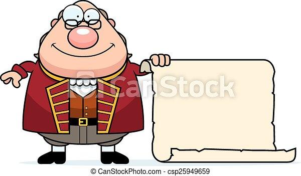 Cartoon Ben Franklin Parchment - csp25949659