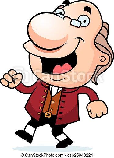 Cartoon Ben Franklin Walking - csp25948224