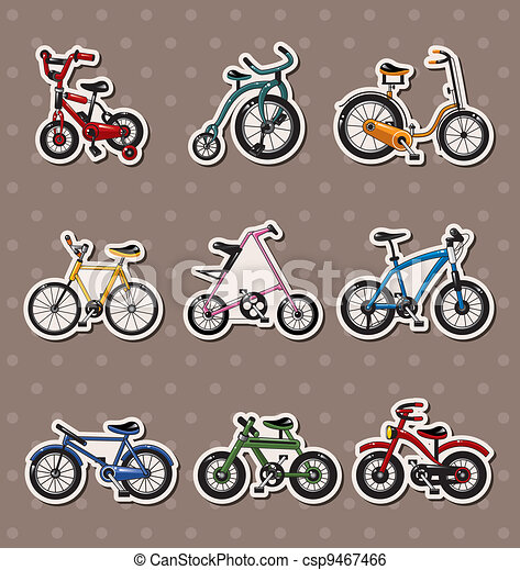 cartoon Bicycle stickers - csp9467466