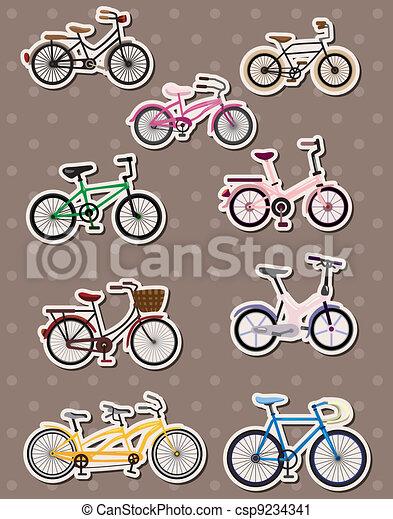 cartoon bicycle stickers - csp9234341