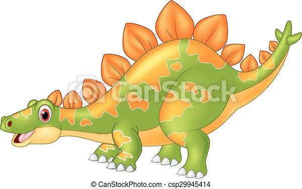 Cartoon big dinosaur Stegosaurus - csp29945414