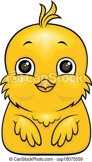 cartoon bird vector cartoon yellow baby bird with big eyes rh canstockphoto com