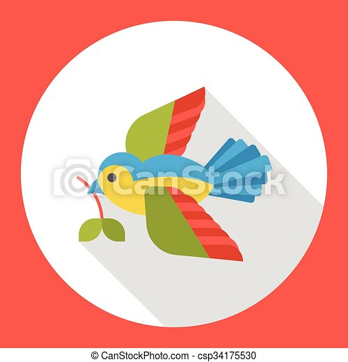 cartoon bird flat icon - csp34175530