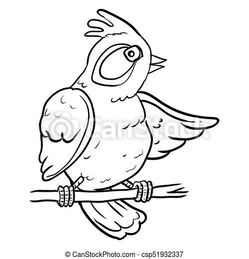 Cartoon Bird on branch tree - Vector Illustration - csp51932337