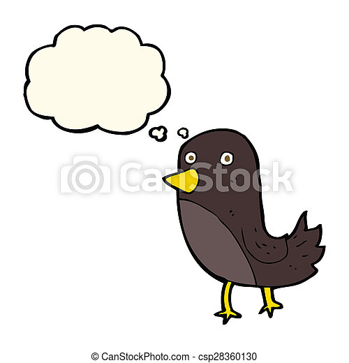 cartoon bird with thought bubble - csp28360130