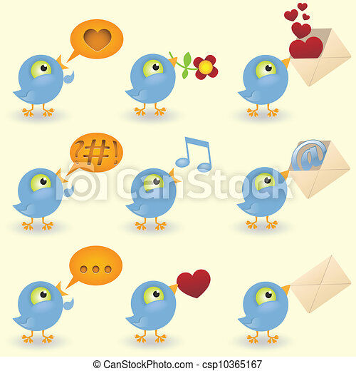 Cartoon birds icon set - csp10365167