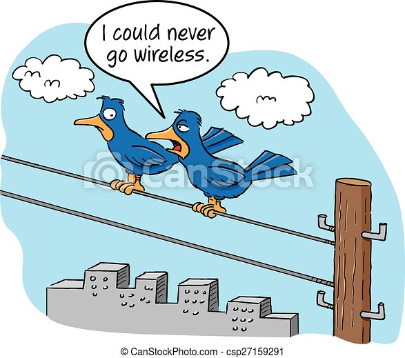 Cartoon Birds on a Wire - csp27159291