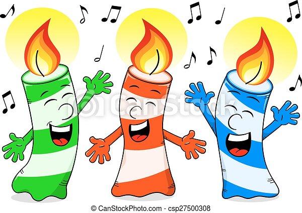 Cartoon Birthday Candles Singing A Song