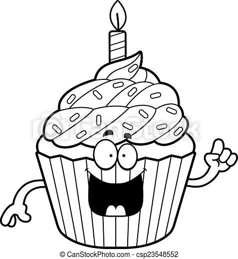 Cartoon Birthday Cupcake Idea A Cartoon Illustration Of A