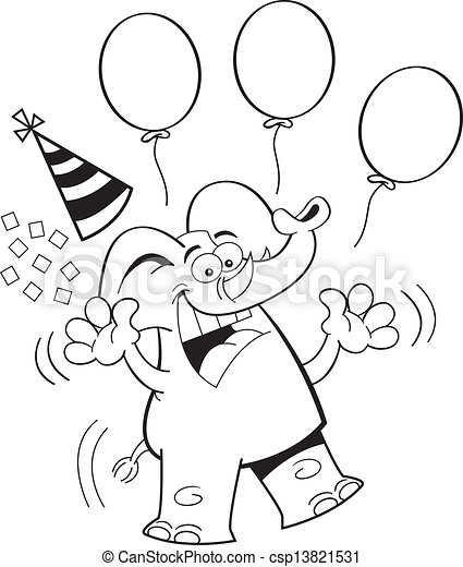 Cartoon Birthday Elephant Jumping Black And White Illustration Of An Elephant Jumping With A Party Hat And Balloons