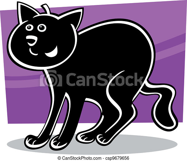 cartoon black cat - csp9679656