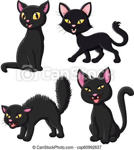 Cartoon black cat collection set - csp60992637