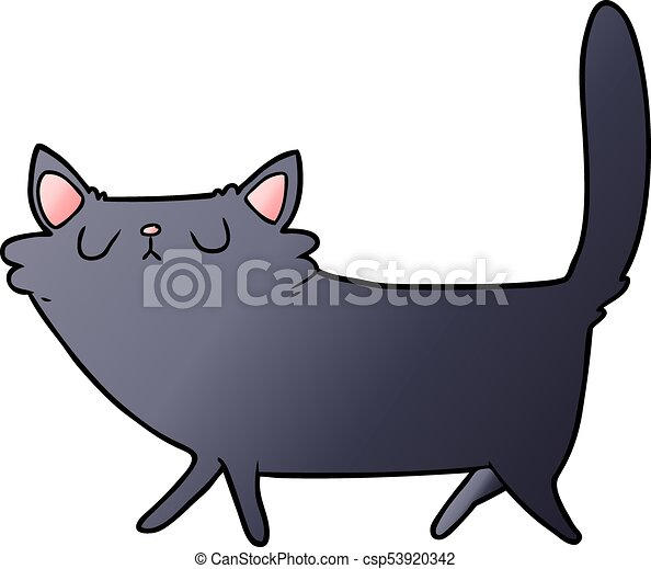 cartoon black cat - csp53920342