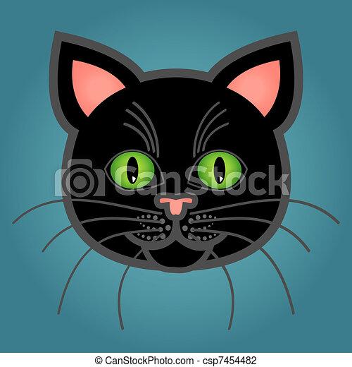 Cartoon black cat - csp7454482