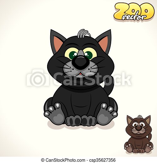 Cartoon Black Cat. Vector Character - csp35627356