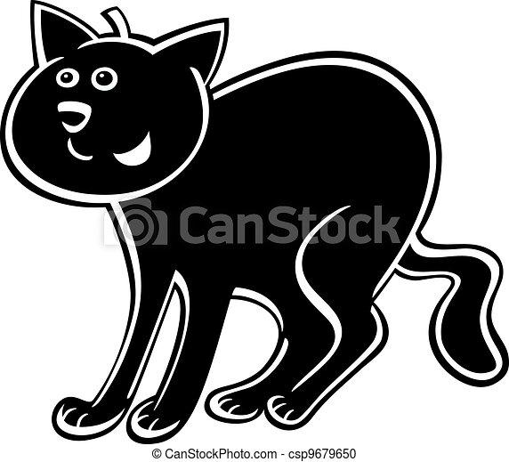 cartoon black cat - csp9679650