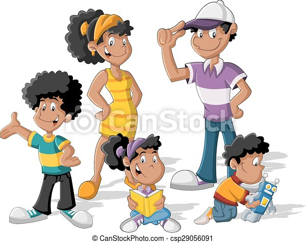 colorful cute happy cartoon black family eps vectors search clip rh canstockphoto com family clipart black and white free black family clip art images