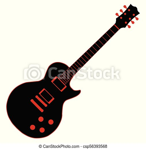Cartoon Black Guitar Cartoon Black Electric Guitar Isolated Over A White Background