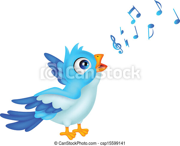 Cartoon Blue Bird Sing - csp15599141
