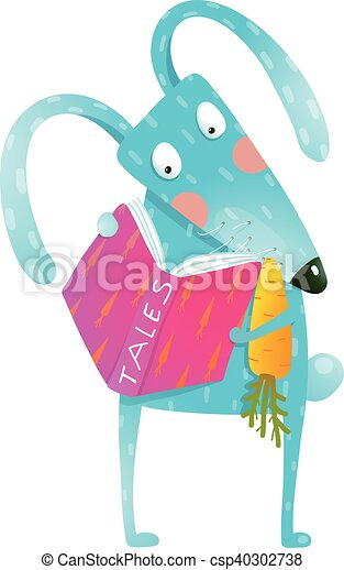 Cartoon blue bunny reading book eating carrot - csp40302738