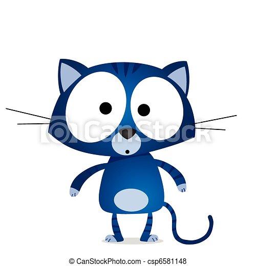 Cartoon blue cat - csp6581148