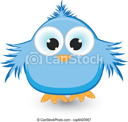Cartoon blue sparrow - csp6423067