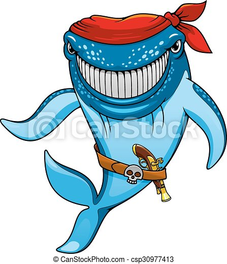 Cartoon blue whale pirate in bandanna and gun - csp30977413
