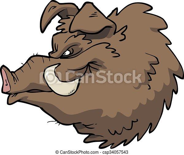 Cartoon boar's head - csp34057543
