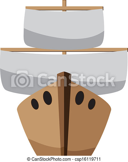 Cartoon Boat Wooden With A Sail On White Vector