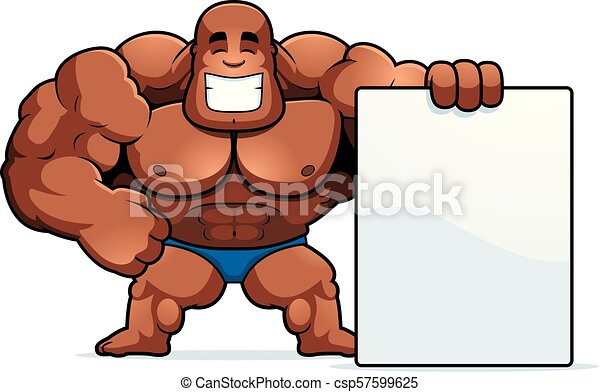 Cartoon Bodybuilder Sign A Cartoon Illustration Of A Bodybuilder With A Sign Canstock