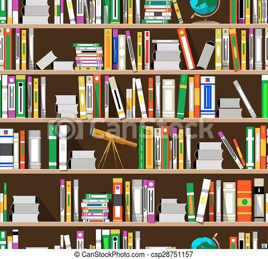 cartoon bookshelves in the library csp28751157 - Library Bookshelves