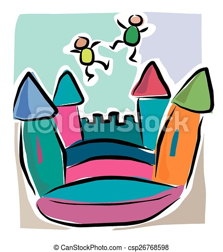 Cartoon bouncy castle - csp26768598