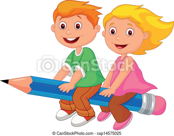 Cartoon boy and girl flying on a pe - csp14575025