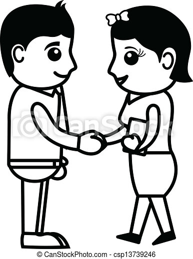 how to draw people shaking hands