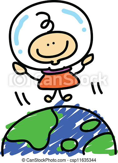 cartoon boy astronaut explore space - csp11635344
