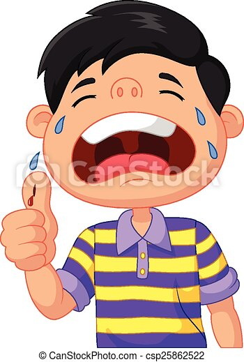 vector illustration of cartoon boy crying because of a cut on his