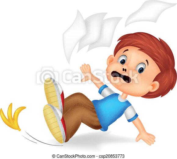 Cartoon boy fall down - csp20853773