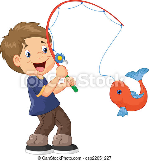 vector illustration of cartoon boy fishing vector illustration rh canstockphoto com Boy with Fishing Pole Clip Art Boy Fishing Silhouette